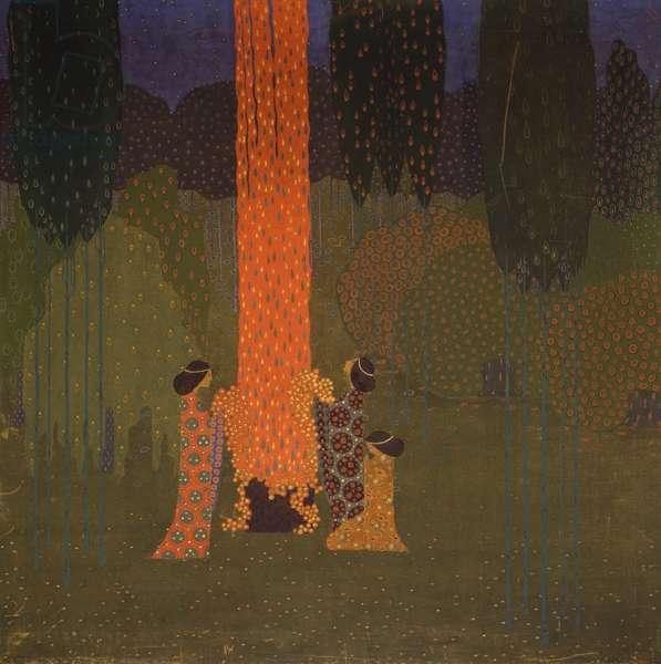 Mystic meeting, 1914, by Vittorio Zecchin (1878-1947), oil on canvas, 120x120 cm. Italy, 20th century.