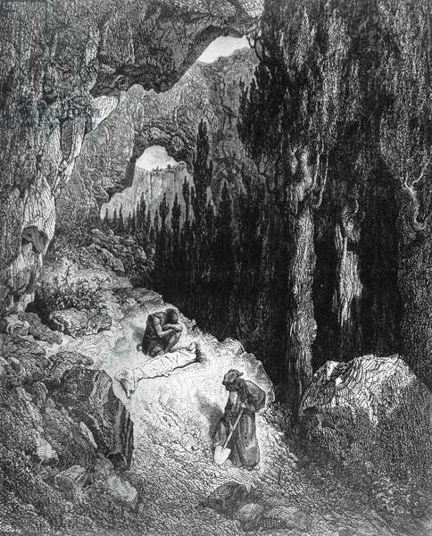 Burial of Atala, illustration for Atala, novella by Francois-Rene, vicomte de Chateaubriand (1768-1848), engraving after drawing by Gustave Dore (1832-1883), from Atala co' disegni di Gustavo Dore, published by Tipografia Lombardi, 1887, Milan
