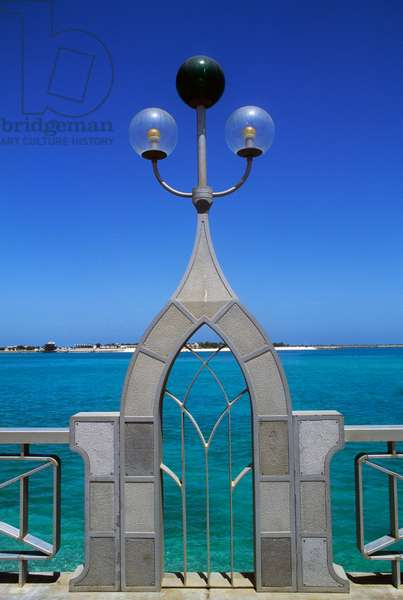 Lamppost on the seafront in Abu Dhabi, United Arab Emirates