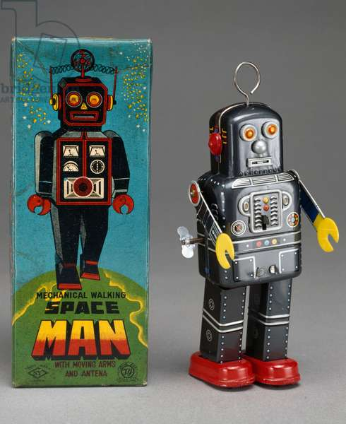 Space man robot, tin toy, 1955, made by Yoshiya, Japan, 20th century