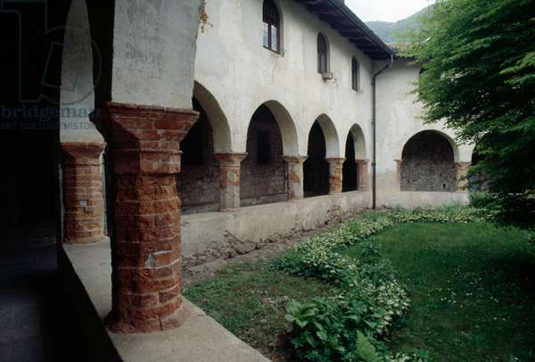 View of pentagonal cloister of St Gemolo abbey, Ganna, Lombardy, Italy, 12th century