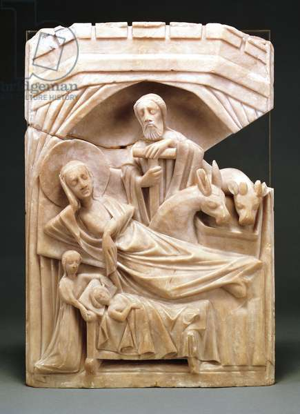 Nativity, marble bas-relief by unknown author, 40.5x27.5x5.2 cm, Portugal, 14th-15th century