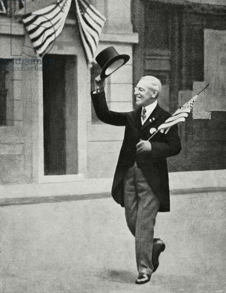 American President Thomas Woodrow Wilson in Europe, World War I, from l'Illustrazione Italiana, Year XLV, No 51, December 22, 1918