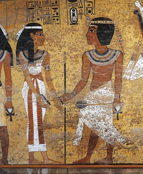 Egypt, Luxor, Valley of the Kings, Tutankhamen's Tomb, Details from frescos representing Tutankhamun and queen