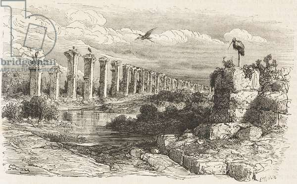 Ruins of Roman aqueduct de los Milagros (Miraculous Aqueduct), Merida, Extremadura, Spain, drawing by Dore, from Travels in Spain by Gustave Dore (1832-1883) and Jean Charles Davillier (1823-1883), from Il Giro del mondo (World Tour)