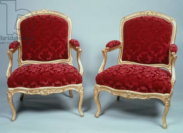 Pair of Louis XV style armchairs, curved armrests and legs, stamped by Gourdin, France, 18th century