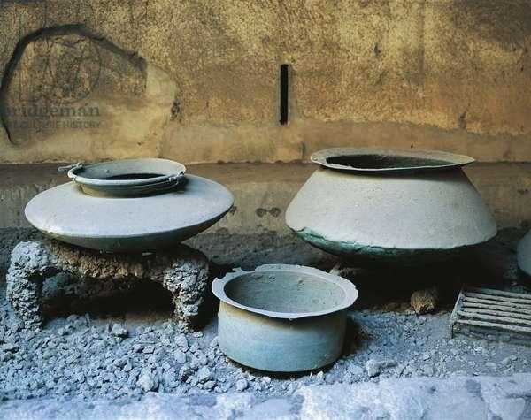 Bronze vessels of kitchen of House of Vettii, Pompeii, Campania, Italy, 1st Century