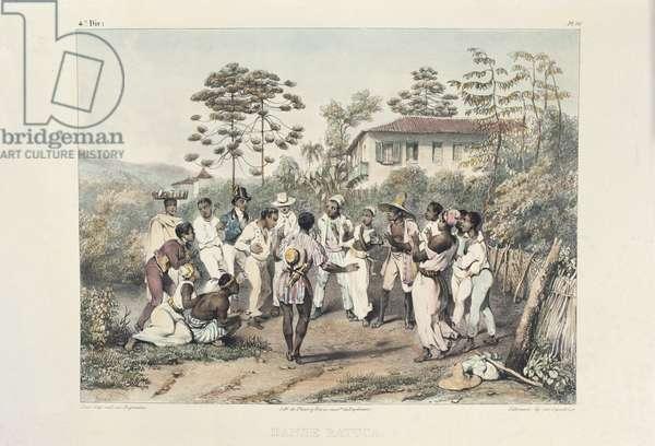 Group of black dancers, illustration from 'Voyage Pittoresque et Historique au Bresil, ou Sejour d'un Artiste Francais au Bresil', (color litho)