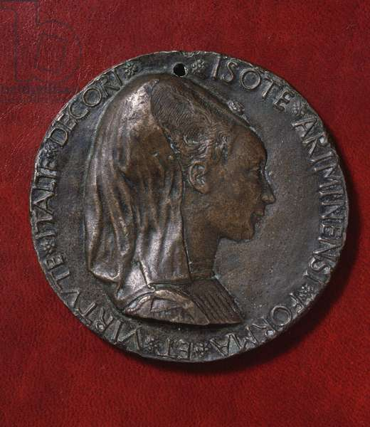 Bronze medal depicting a veiled Isotta degli Atti (1432-1474) and an elephant, 1446, obverse, designed by Matteo de' Pasti (ca 1420-after 1467), diameter 8,4 cm, 15th century