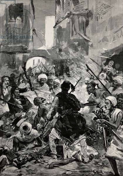 Scene of burning and looting of Alexandria, Egypt, drawing by Dante Paolocci, engraving from L'IIllustrazione Italiana, no 31, July 30, 1882