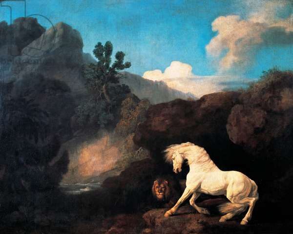 A Horse frightened by a Lion, 1770, Painting by George Stubbs (1724-1806), Oil on canvas, 126x100.1 cm, United Kingdom, 18th century