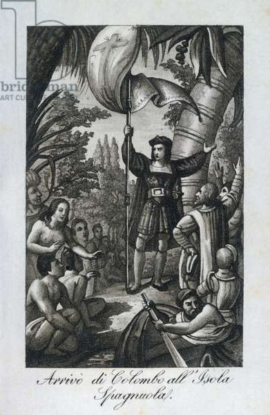 The arrival of Christopher Columbus amongst the natives of the island of Hispaniola, engraving from Almanac for the year 1829, Lamperti Typography, Italy, 1829