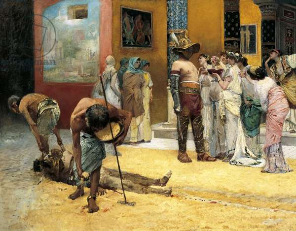Gladiatorial combat during dinner at Pompei, by Francesco Netti (1832-1894), oil on canvas, 115x208 cm, Detail, 1880