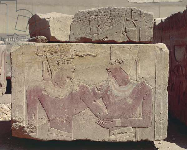 Egypt, Karnak, painted relief of Hatshepsut as pharaoh and god Amon