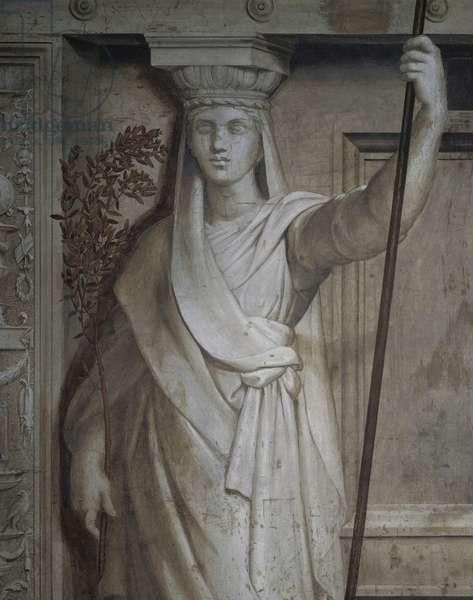 Caryatid, allegory of Peace, 1511-1514, workshop of Raphael (1483-1520), fresco, Room of Heliodorus, Apostolic Palace, Vatican City