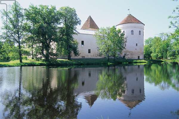 Koluvere castle, founded in 13th century, on an artificial island in Liivi river, Estonia