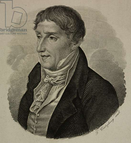 Portrait of Alessandro Volta (1745-1827), Italian engineer and physicist, inventor of battery, engraving
