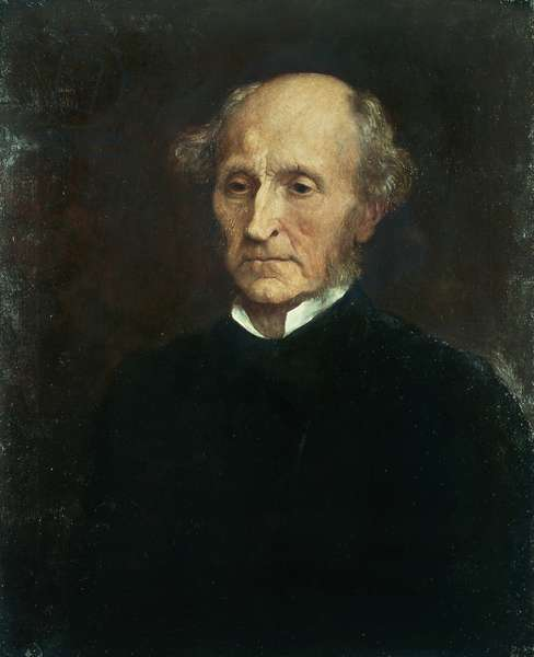 Portrait of John Stuart Mill (Pentonville, 1806 - Avignon, 1873), British philosopher and economist, Oil on canvas by George Frederic Watts (1817-1904), 1873, 66x53.3 cm