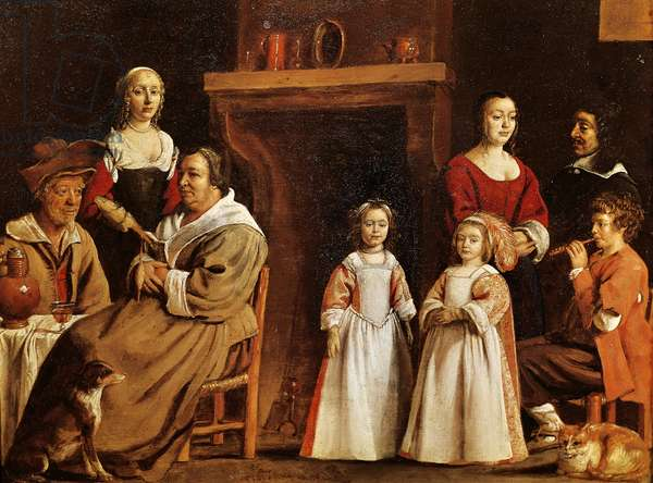 Portrait in interior, by Antoine Le Nain (1588-1648)
