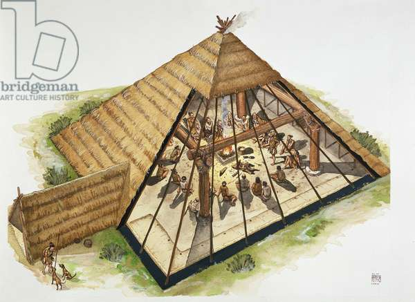 China, Reconstruction of a hut in the ancient village of Banpo, drawing