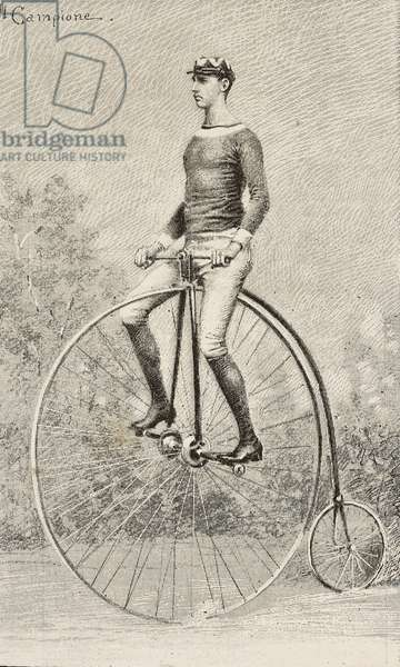 Velocipedes race winner, National Exposition in Turin, Italy, engraving from drawing by Ettore Ximenes, from L'Illustrazione Italiana, No 34, August 24, 1884