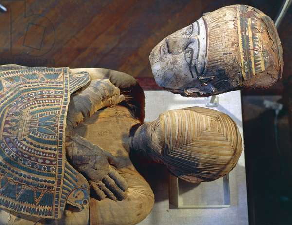 Mummy of man, named Pachery or Nenu, linen and cartonnage, 166 cm, Egyptian Civilization, Ptolemaic Period, 4th-1st century BC