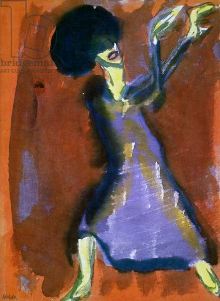 Mary Wigman dancing, by Emil Nolde (1867-1956), watercolour on paper. Germany, 20th century.