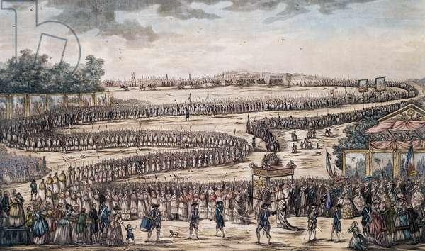 Procession for opening of Estates General in Versailles on May 4, 1789, engraving, France, 18th century