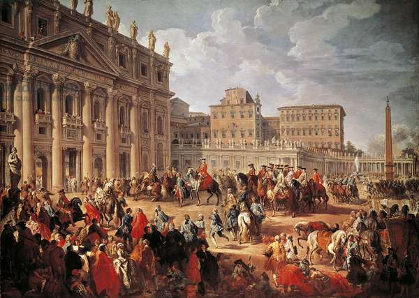Charles III visiting Saint Peter's Basilica, Rome, 1746, by Giovanni Paolo Pannini (1691-1765), oil on canvas, 123.3x173.5 cm, Italy, 18th century