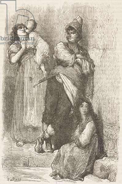 Women and men of Toledo, Castile-La Mancha, Spain, drawing by Dore, from Travels in Spain by Gustave Dore (1832-1883) and Jean Charles Davillier (1823-1883)