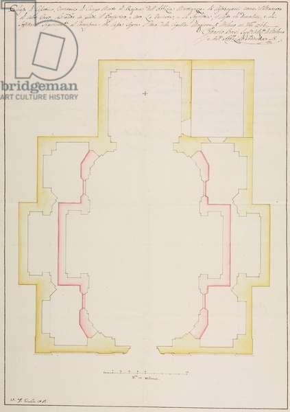 Design for reconstruction of Casatico Oratory, also known as Gesiolo, Campomorto, Siziano, parish of Lacchiarella, August 5, 1767, Cardinal Giuseppe Pozzobonelli, plan, Italy, 18th century