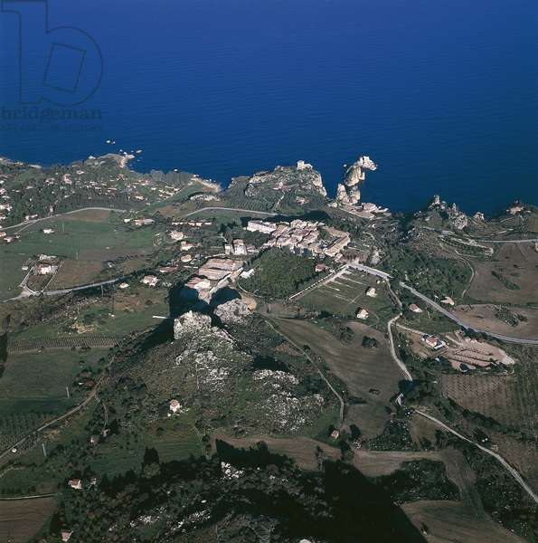 Aerial view of an island, Scopello, Province of Trapani, Gulf of Castellammare, Sicily, Italy (photo)