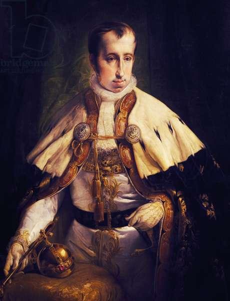 Portrait of Ferdinand I of Austria (Vienna, 1793-Prague, 1875), Emperor of Austria and King of Hungary, Painting by Francesco Hayez (1791-1882)