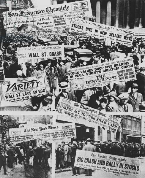 Photomontage of front pages of American newspapers dedicated to collapse of Wall Street, October 1929, United States of America, 20th century