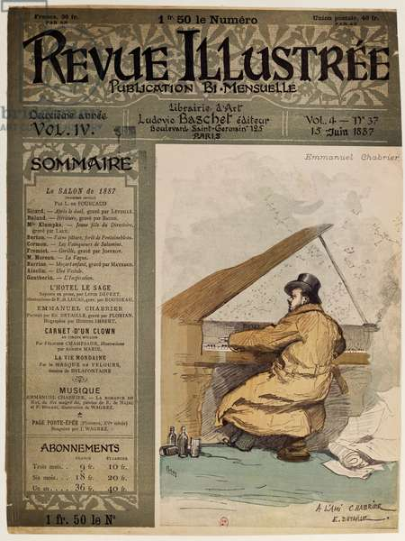 Cover of the Revue Illustre, with composer Alexis Emmanuel Chabrier (1841-1894) at the piano, Paris June 15, 1887, France, 19th century