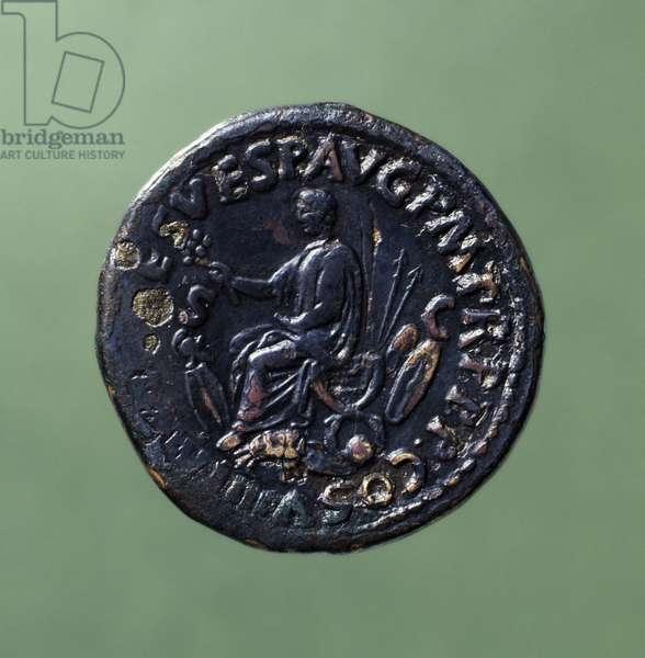 Coin bearing image of Roman Empero, Titus, 81 AD Roman coins, 1st century AD