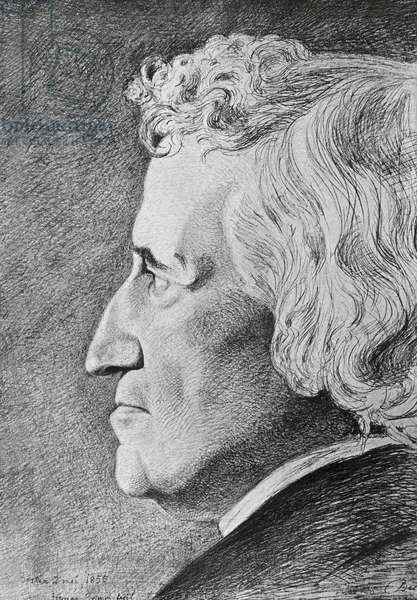 Portrait of Jacob Grimm (1785-1863), German philologist and writer, pencil drawing by Hermann Grimm (1828-1901), 1855