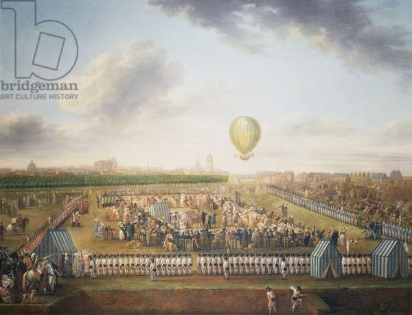 14th experience of Jean-Pierre Blanchard and Chevalier Lepinard with hot air balloon, Lille, August 26, 1785, France, painting by Louis Joseph Watteau (1731-1798), oil on canvas