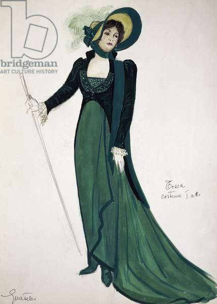 Costume sketch by G Metelli for role of Tosca in first act of homonymous opera by Giacomo Puccini (1858-1924), performed at San Carlo Theatre in Naples