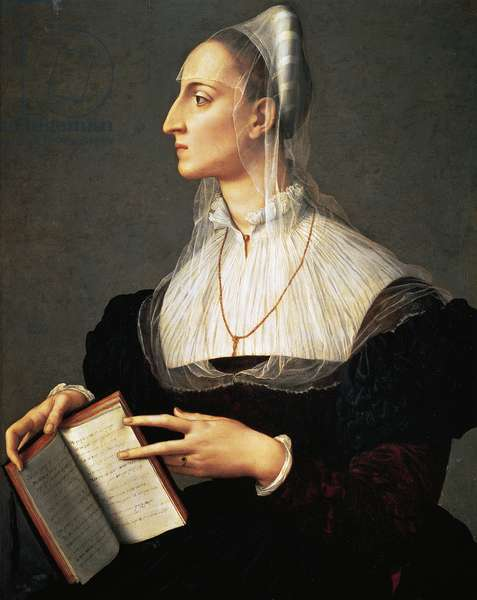 Portrait of Laura Battiferri (Urbino, 1523-Florence, 1589), Italian poetess, Painting by Agnolo Bronzino (1503-1572)