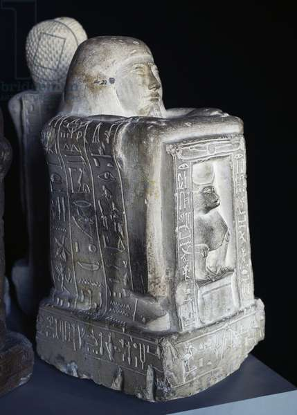 The scribe Khay regent of chapel dedicated to Thoth in the form of baboon, cube statue made of limestone, 65cm x 33cm x 36.5cm, Egyptian Civilization, New Kingdom, Dynasty XIX