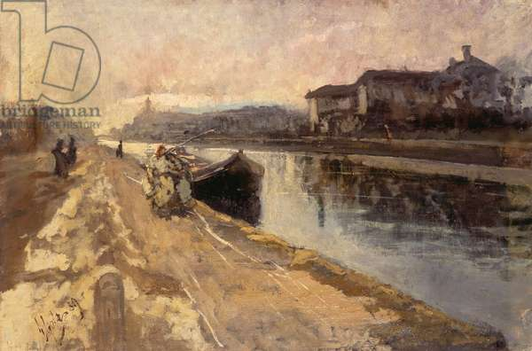 Commoners along the Naviglio canal, 1889, by Emilio Gola (1851-1923)