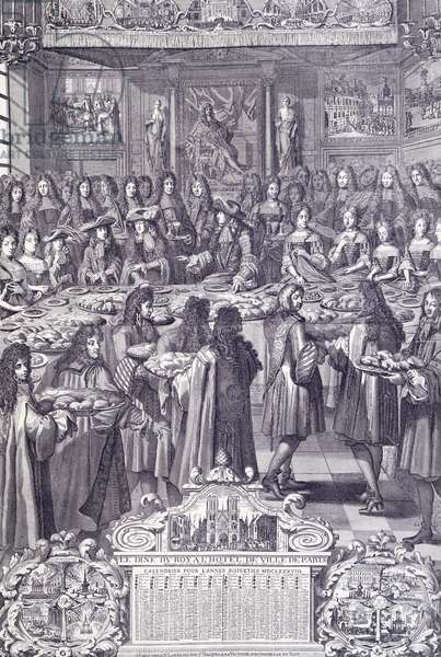 Louis XIV, love and delight of his people, engraving from Almanacco, 1687, depicting dinner given in honor of Louis XIV's in city's Palace, France, 17th century