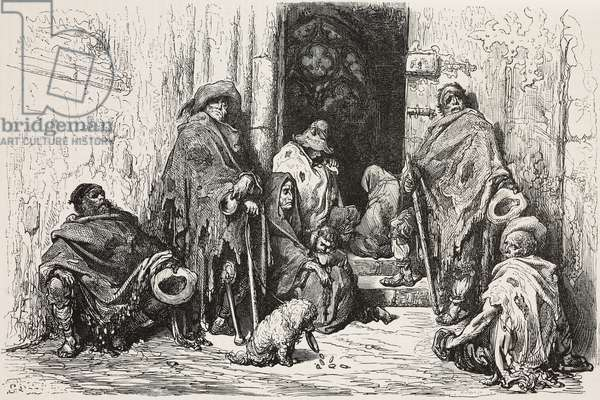 Beggars in the cloister of Barcelona cathedral, drawing by Dore, from Travels in Spain by Gustave Dore (1832-1883) and Jean Charles Davillier (1823-1883), 1862