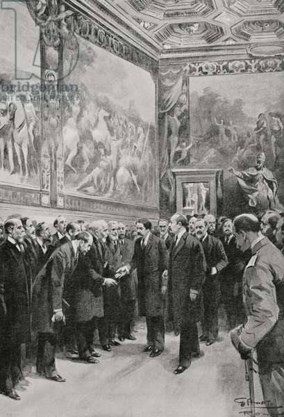 Solemn reception offered at Capitol by mayor of Rome to French ministers Leon Bourgeois (1851-1925) and Aristide Briand (1862-1932), Italo-French Conference of February 1916, Rome, Italy, drawing by Gennaro d'Amato (1857-1947)