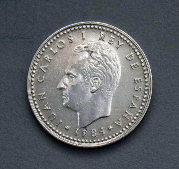 1 peseta coin, 1984, obverse, Juan Carlos I (1938-), Spain, 20th century