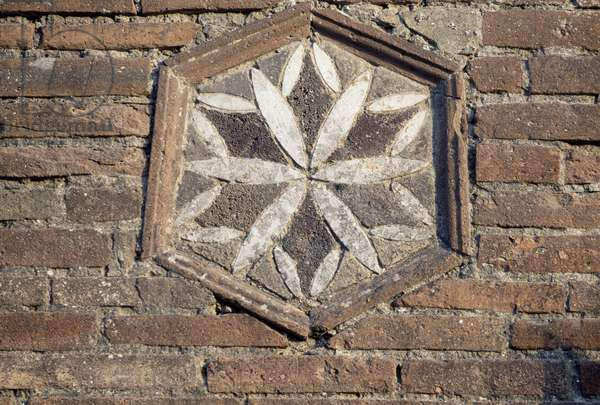 Framed hexagonal wall decoration, Pompeii (Unesco World Heritage List, 1997), Campania, Italy, Roman civilization
