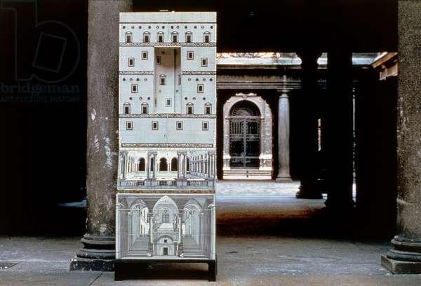 Trumeau-bar bureau, 1951, by Piero Fornasetti (1913-1988), outdoor set. Italy, 20th century.