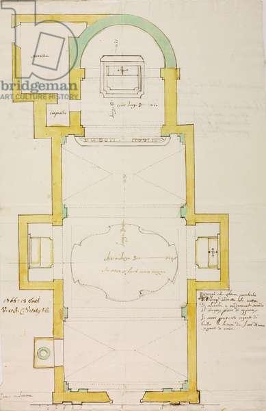 Design for parish church of Dolzago, parish of Oggiono, January 15, 1766, Cardinal Giuseppe Pozzobonelli, plan, Italy, 18th century