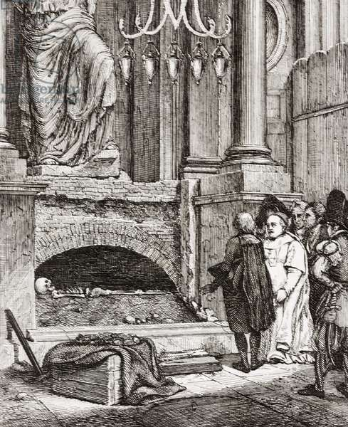 Discovery of Raphael's bones, engraving from painting by Horace Vernet (1789-1863), from L'album, giornale letterario e di belle arti, Saturday, November 4, 1837, Year 4